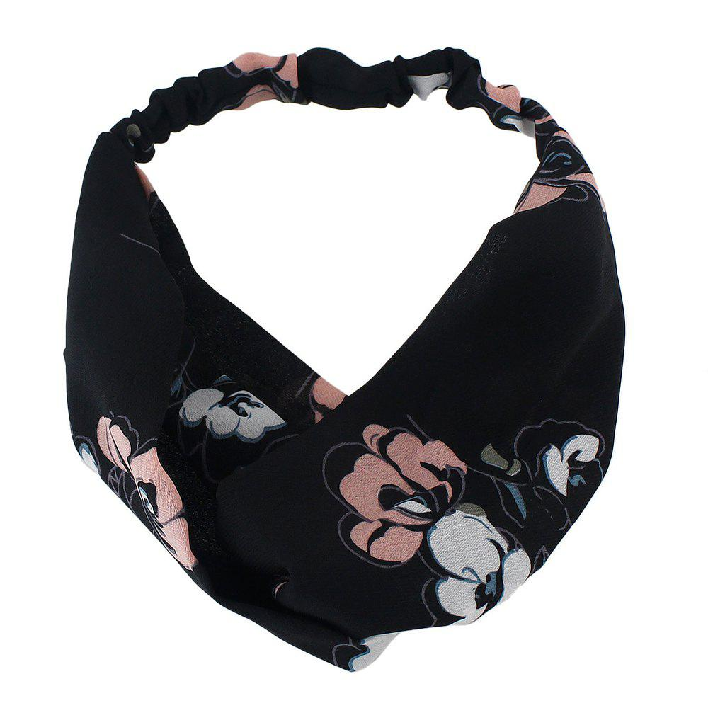 Hot Polyester Flower Printed Elastic Hairband