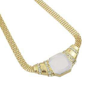 Gold-color Chain with Rhinestone White Bead Geometric Necklace -