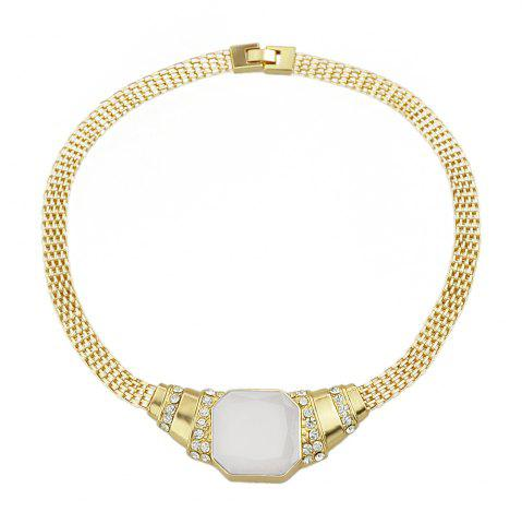 Trendy Gold-color Chain with Rhinestone White Bead Geometric Necklace