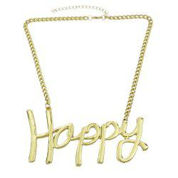 Gold-color Chain Sheet Metal Charm Necklace -