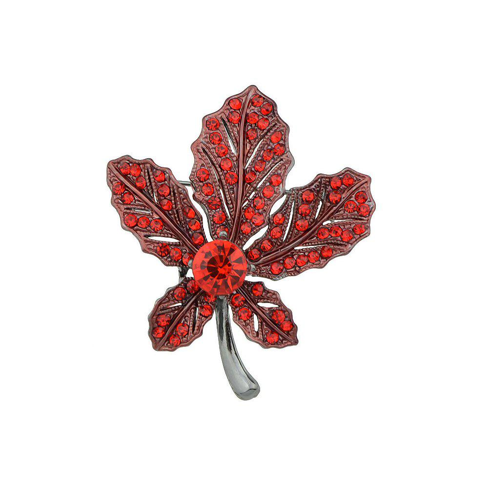 New Colorful Rhinestone with Leaf Shape Brooch