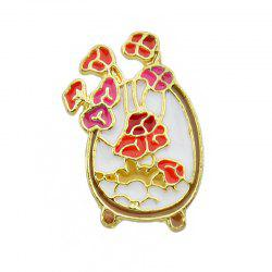 Colorful Enamel with Flower Vase Leaf Brooch -
