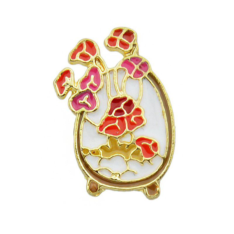Store Colorful Enamel with Flower Vase Leaf Brooch