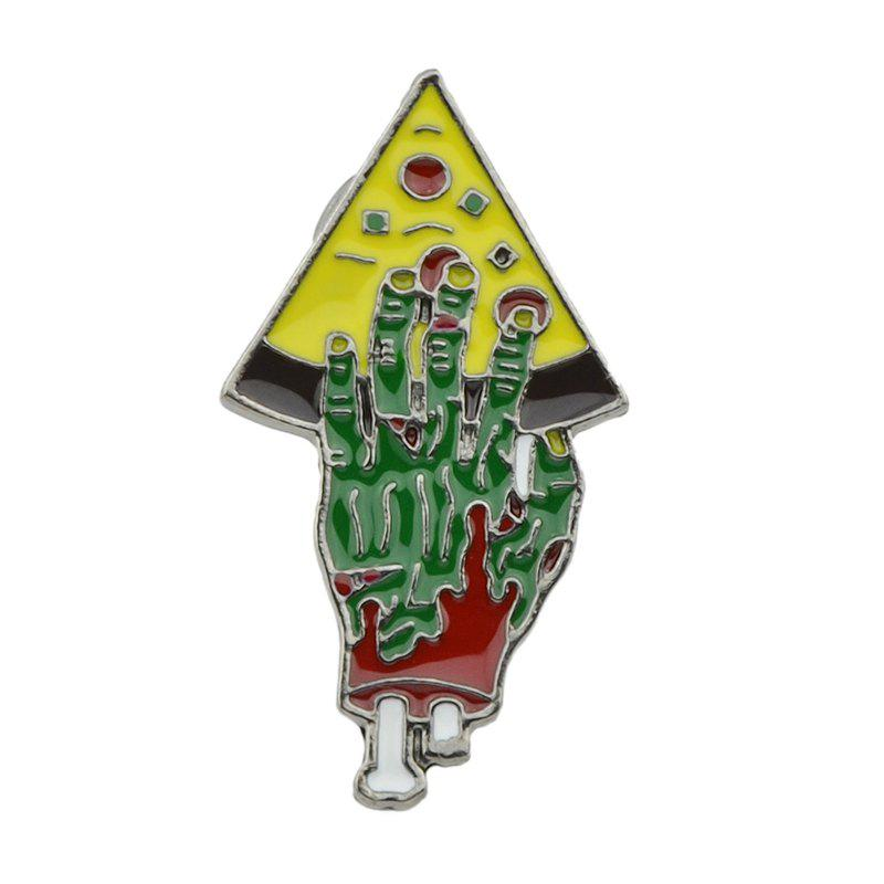 Fancy Colorful Enamel with Hand Pizza Brooch