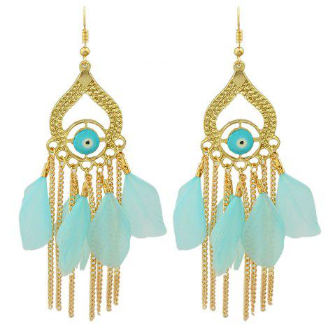 New Gold Color with Colorful Feather Chandelier Earrings