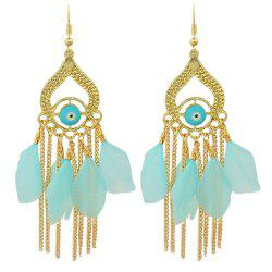 Gold Color with Colorful Feather Chandelier Earrings -