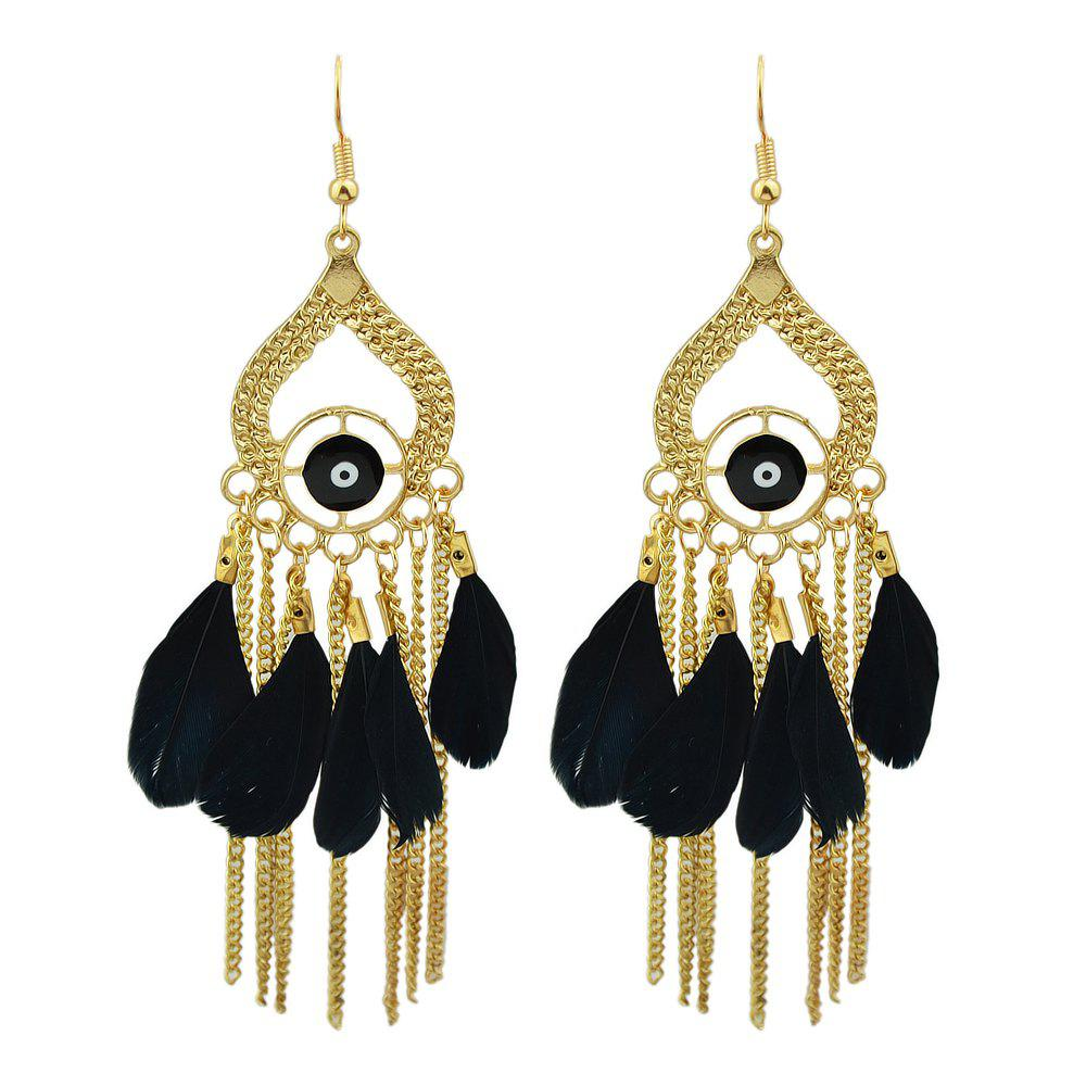 Discount Gold Color with Colorful Feather Chandelier Earrings