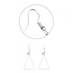Silver Hook with Triangular Bell Earrings -