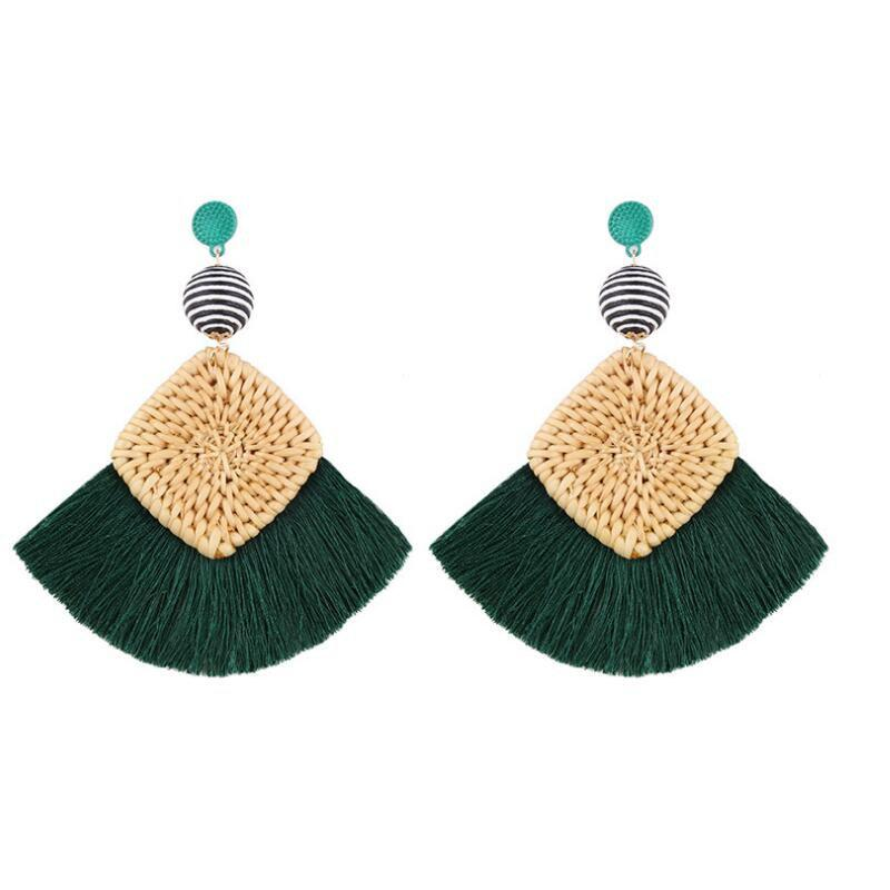 Shop Summer Fashion Woven Tassel Earrings