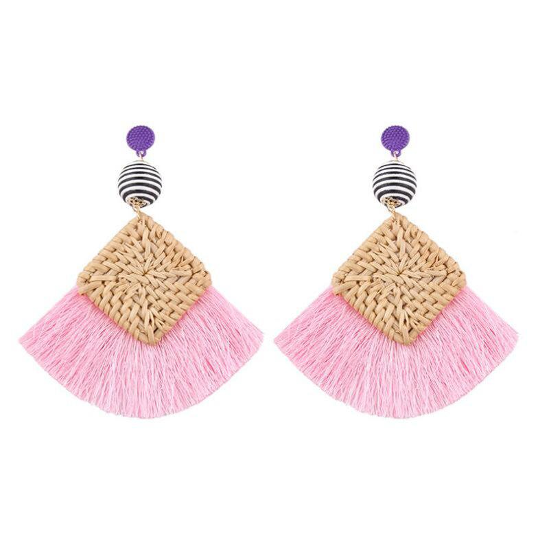 Fashion Summer Fashion Woven Tassel Earrings
