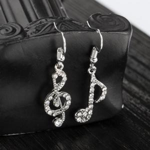 Fashion Diamond Note Asymmetry Earring Student Temperament Personality Accessory -