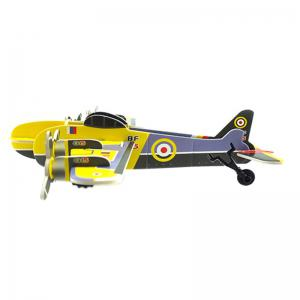 DIY Children Stereo Simulation Yellow Airplane Model Puzzle -