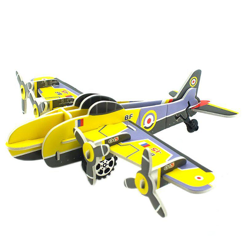 Shop DIY Children Stereo Simulation Yellow Airplane Model Puzzle