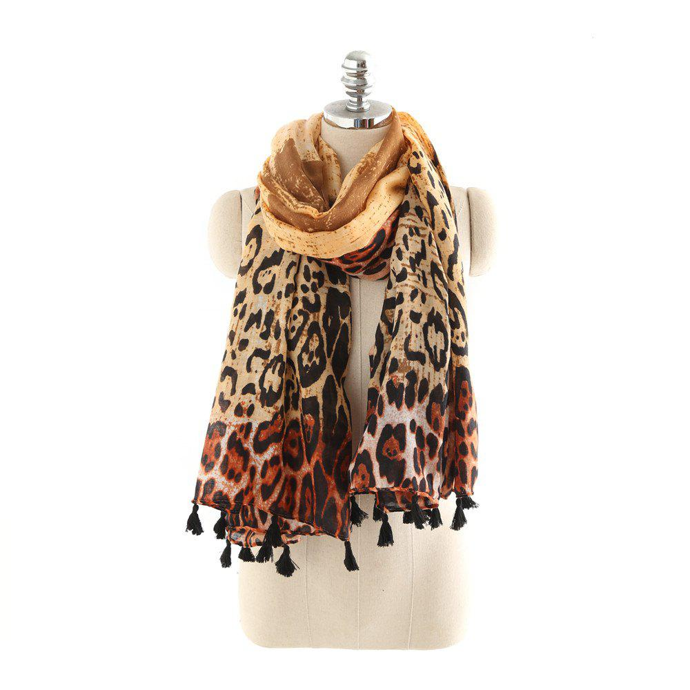New Tapered Leopard Grain Banquet Warm Cotton and Hemp Scarf