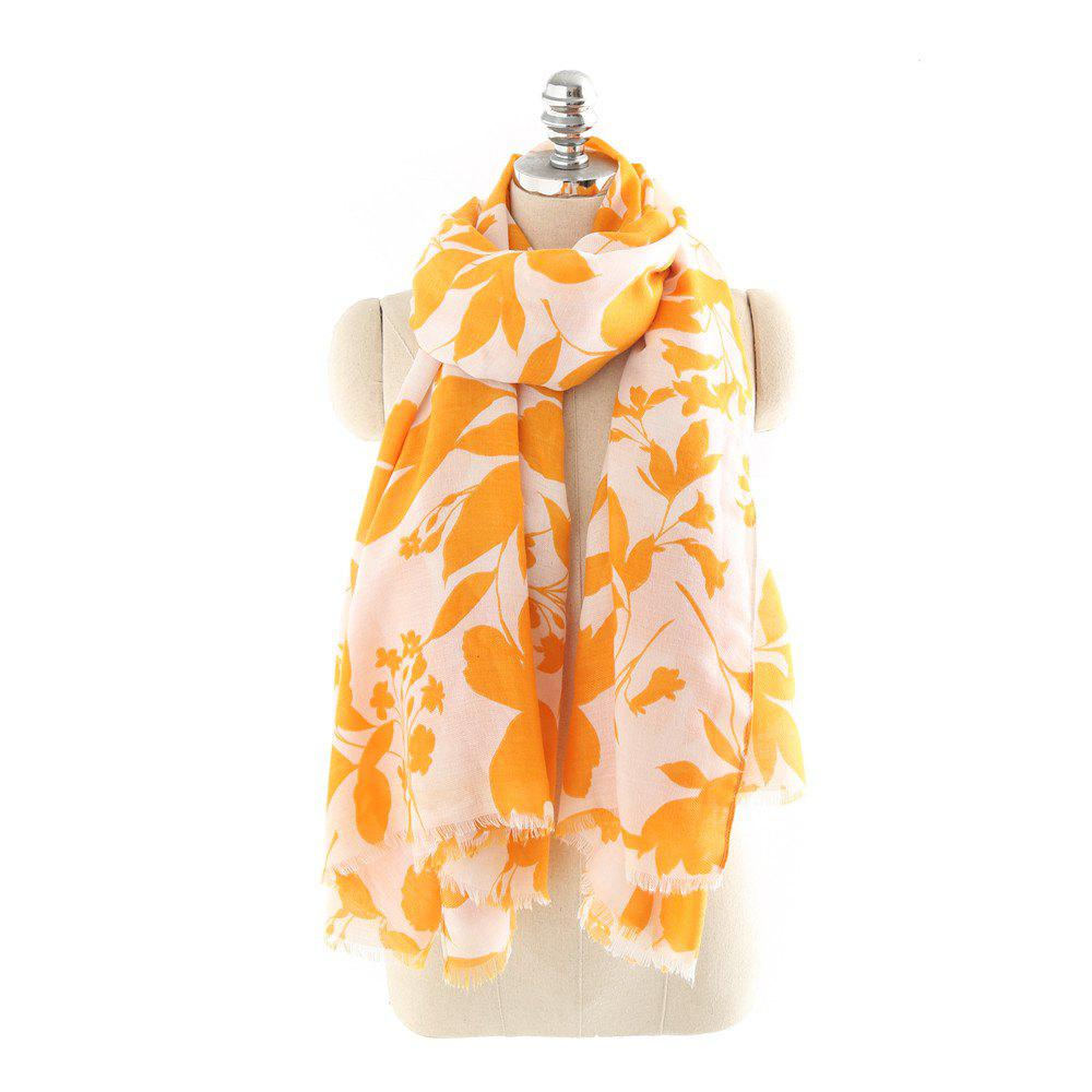 Discount Yellow and Gold Leaf Pattern Fashionable Cotton and Linen Scarf