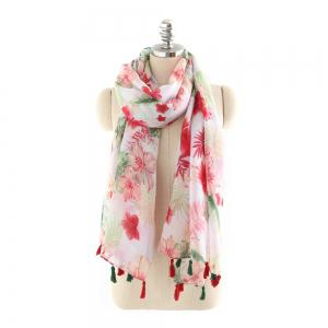 Fresh Red Floral Pattern Multicolor Tassel Cotton and Linen Scarf -