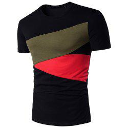 Men Hit Color Short Sleeve Casual   T-Shirt -