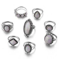 8PCS/SET Silver Plating Natural Gemstone Fire Opal Diamond Rings -