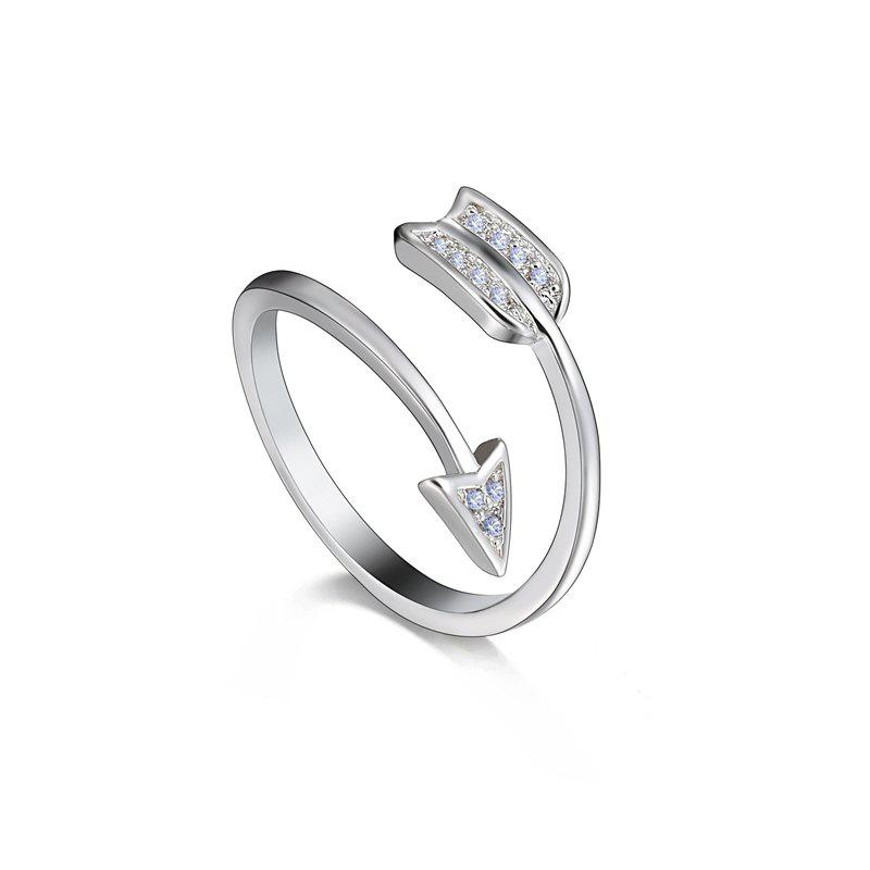 Outfits Silver Plated Crystal for Women Adjustable Ring Arrow