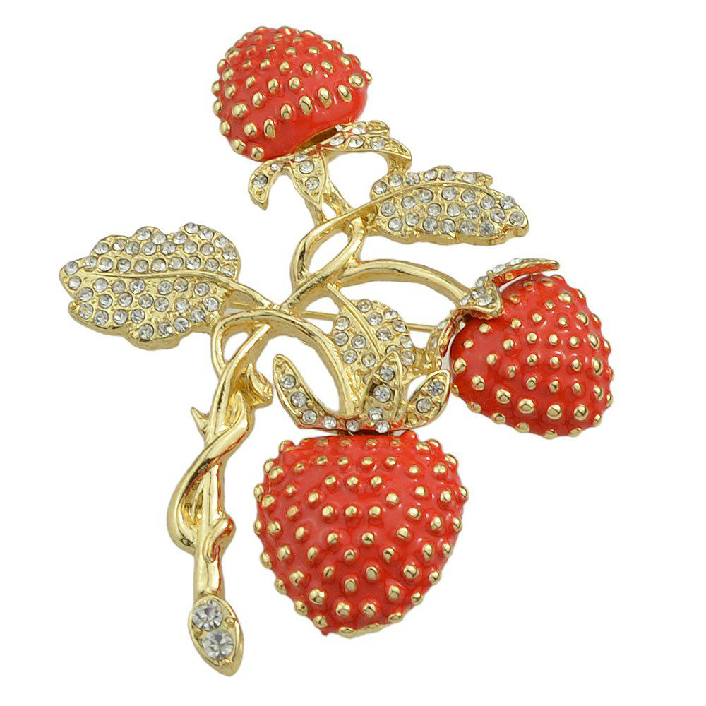 Sale Enamel and Rhinestone Plant Strawberry Brooch