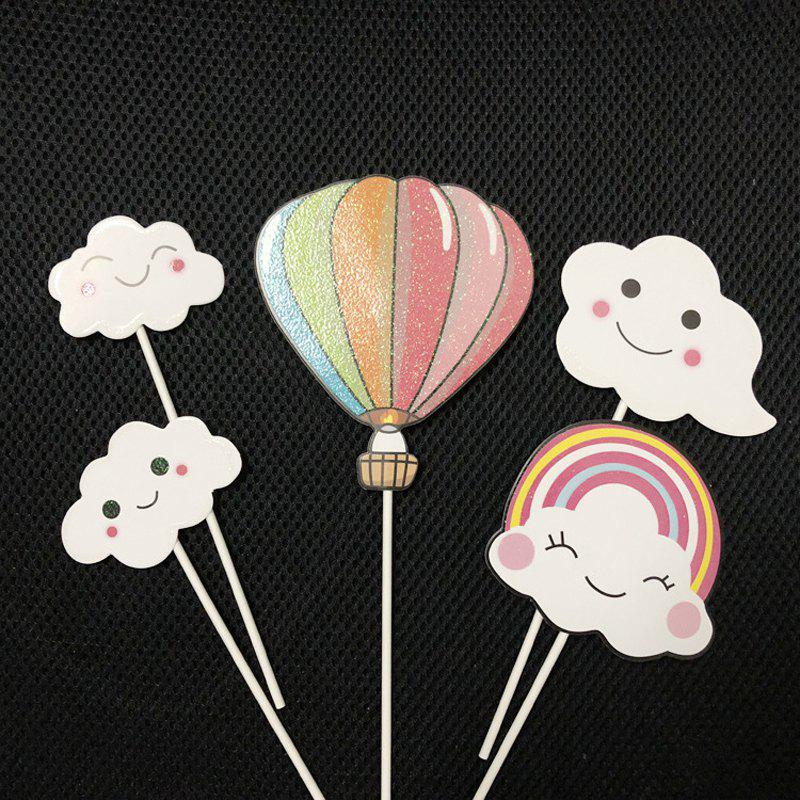 Outfits 1 Set Cloud Colorful Hot Air Balloon Rainbow Baking Cake Decoration Flag
