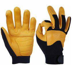 OZERO Motorcycle Gloves Deerskin Leather Perfect Grip Flexible Breathable -