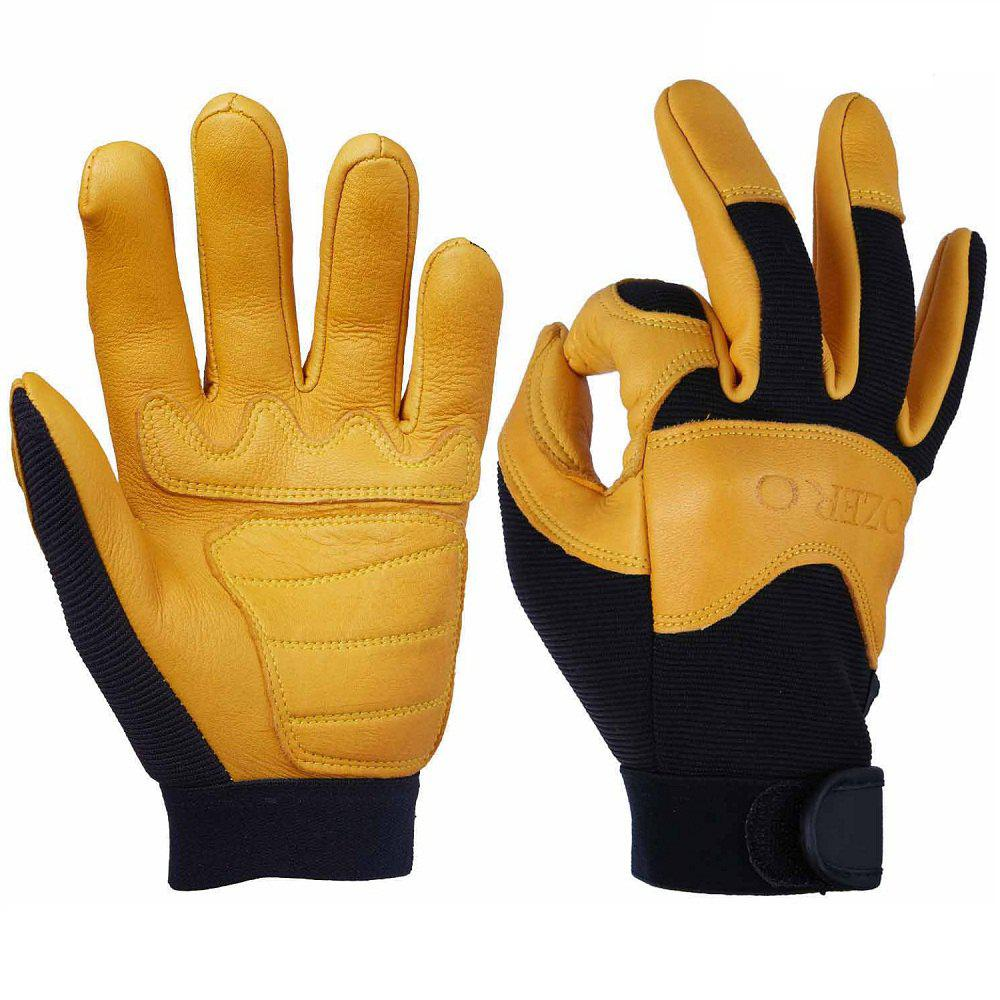 OZERO Gants de moto en cuir de daim Perfect Grip respirant flexible
