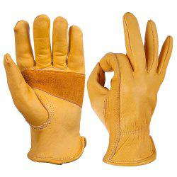 OZERO Work Gloves Cowhide Leather Good Grip and Durable For Working -