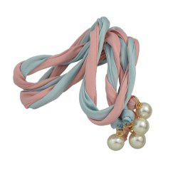 Long Colorful Ribbon Adjustable Hairband with Bead -