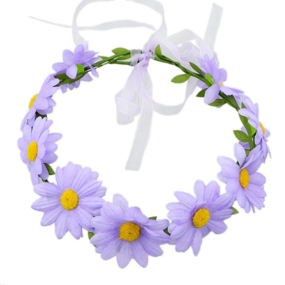 Online Colorful Sunflower Ribbon Wreath Hairband Wedding Hair Ornament