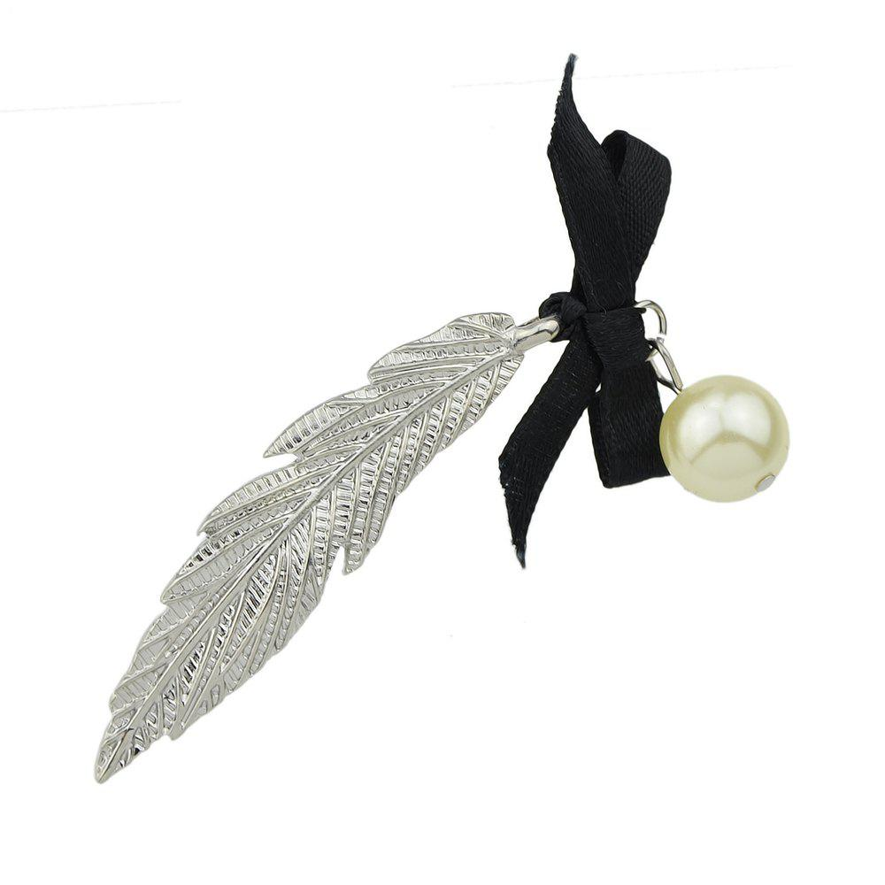 Fashion Gold Silver Color Long Leaf Bowknot Hairpin