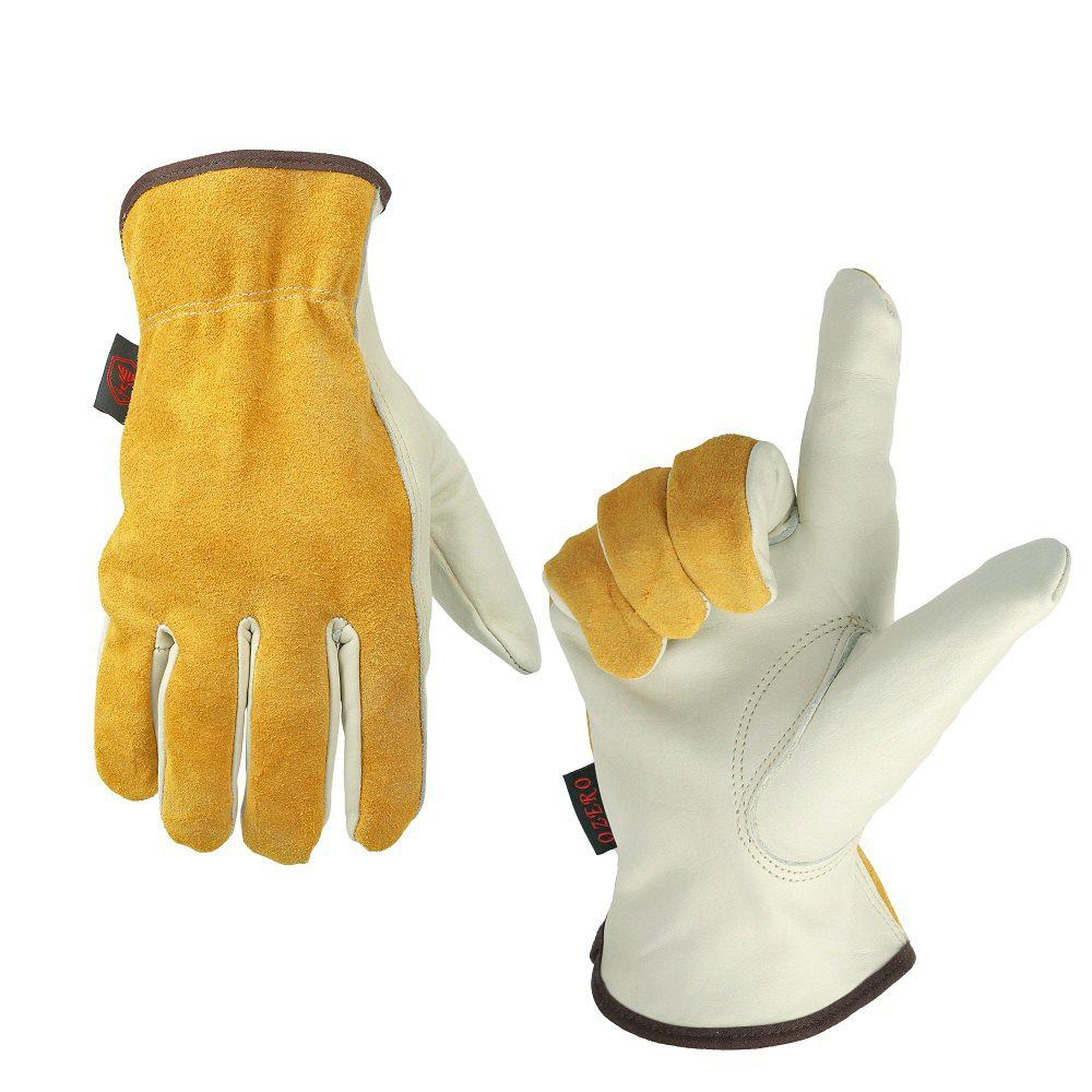 Fancy OZERO Cowhide Leather Work Gloves Drivers Safety Durable Wear-Resistant