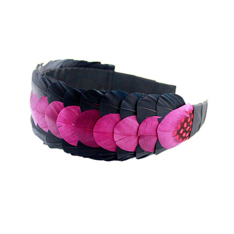 Fashion Individual Exaggerate Patchwork Feather Hairband