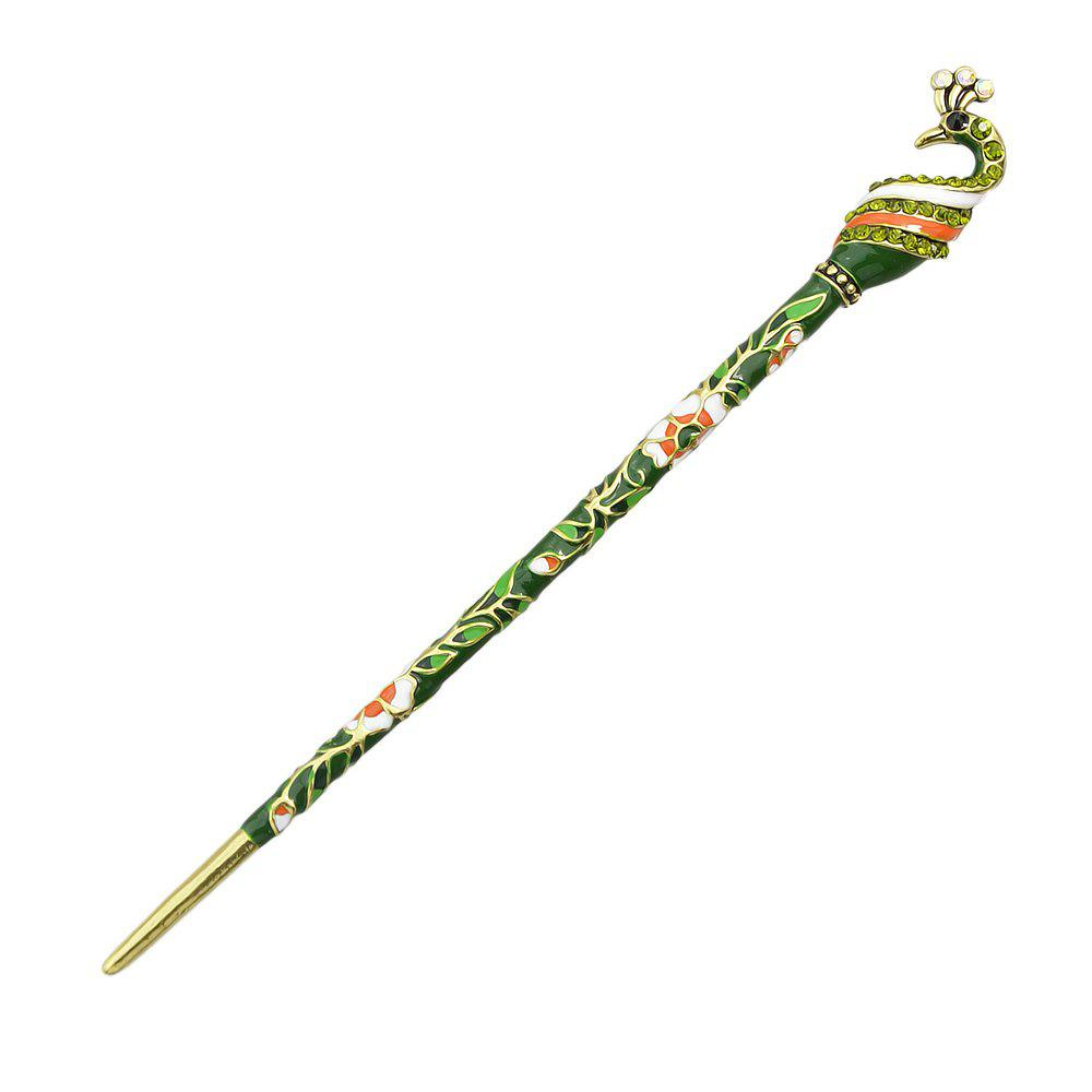 Online Court Colorful Enamel Peacock Long Hairpin