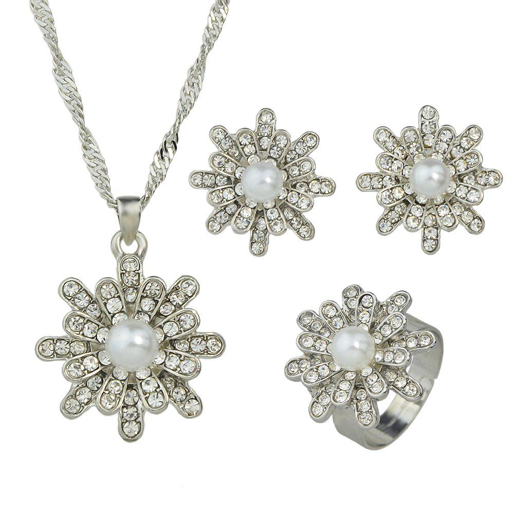 Online Luxury Full Rhinestone Bead Flower Pendant Necklace Earrings Finger Ring