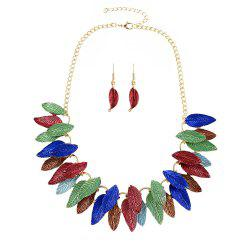 Enamel Leaf Necklace and Drop Earrings -