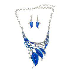 Enamel Leaf Colar Vintage Neckalce and Earrings -