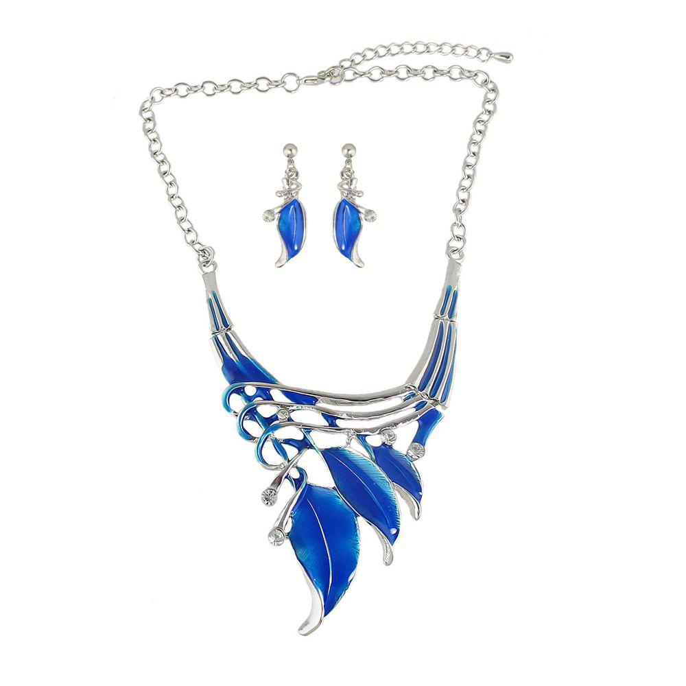 Trendy Enamel Leaf Colar Vintage Neckalce and Earrings