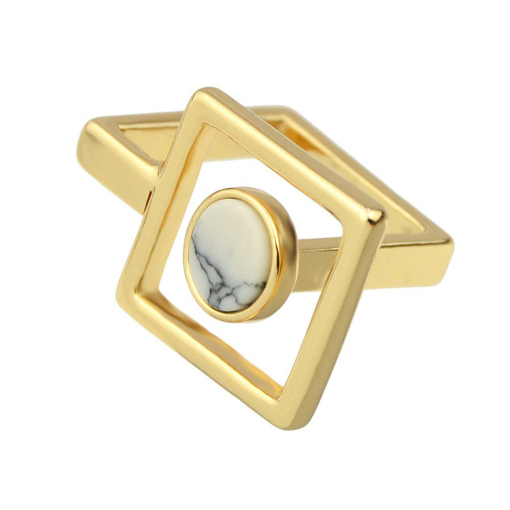 Hot Gold-color Marble Geometry Finger Ring Female Women