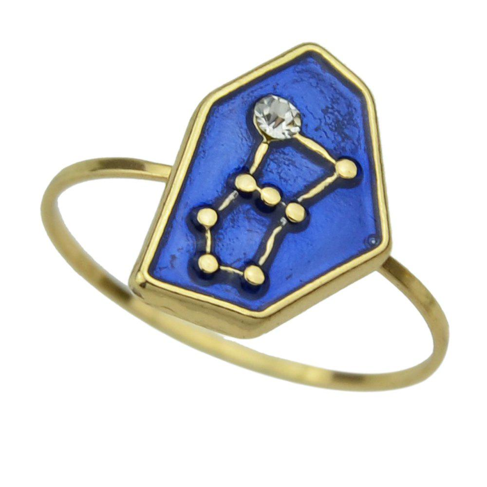 Outfit Gold-color Enamel Finger Geometric Ring with Rhinestone Constellation