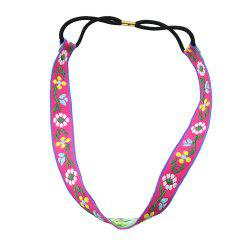 Elastic Braided Rope Ribbon Colorful Flower Pattern Headband -