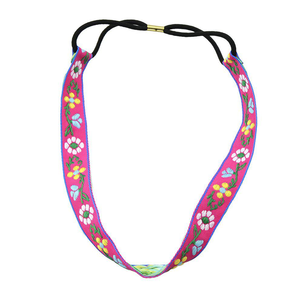 Outfits Elastic Braided Rope Ribbon Colorful Flower Pattern Headband
