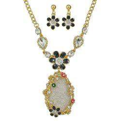 Colorful Rhinestone Enamel Flower Water Drop Pendant Necklace Earrings -