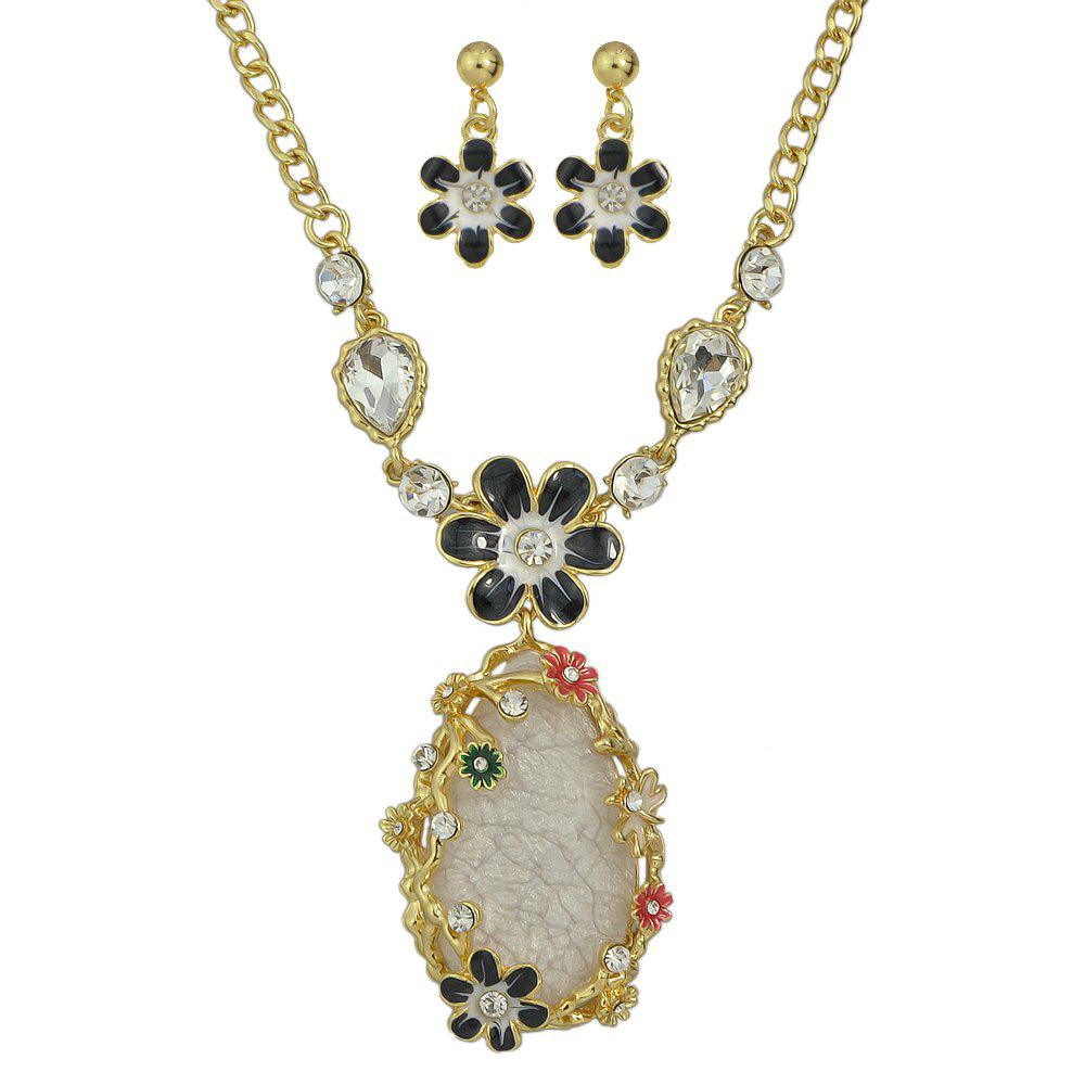 Cheap Colorful Rhinestone Enamel Flower Water Drop Pendant Necklace Earrings