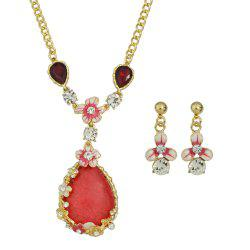 Colorful Rhinestone Flower Pendant Necklace Earrings -