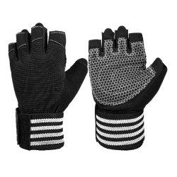 OZERO Fitness Gloves with 19 in Wrist Wrap Support Extra Grip Workout Gloves -