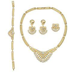 Gold Plated Carved Flower Design Necklace Earring Bracelet and Ring -
