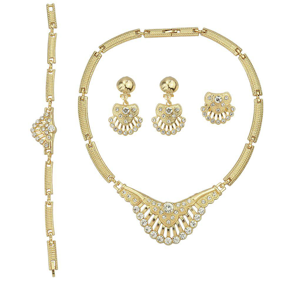 Chic Gold Plated Carved Flower Design Necklace Earring Bracelet and Ring