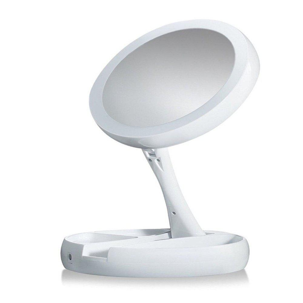 Discount Fold-away Distortion-free LED-illuminated and 360 Rotating Make-Up Mirror