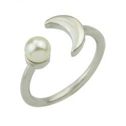 Silver Color Bead Geometric Open Cuff Finger Ring -